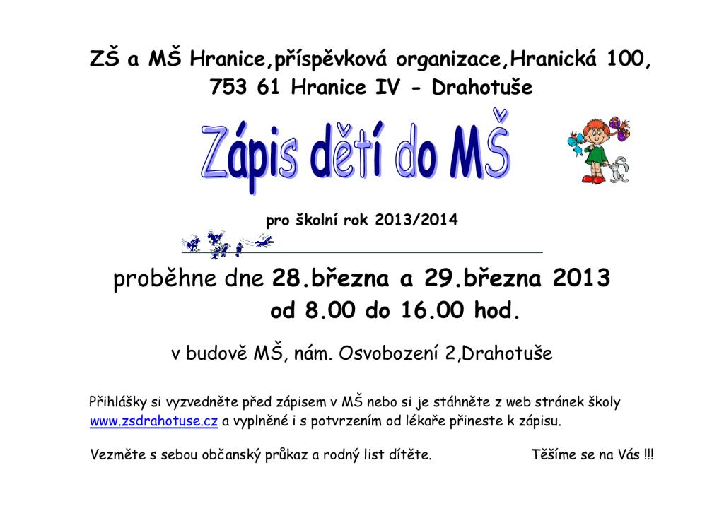 zápis do MŠ - 28.,29.března 2013-2014