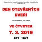 Den otevřených dveří 7. 3. 2019